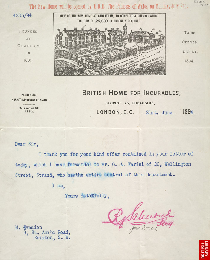 Letter from the British Home for Incurables to Mr Evanion